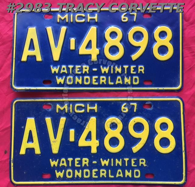 1967 Pair Used Original Michigan License Plates AV 4898 Water-Winter Wonderland