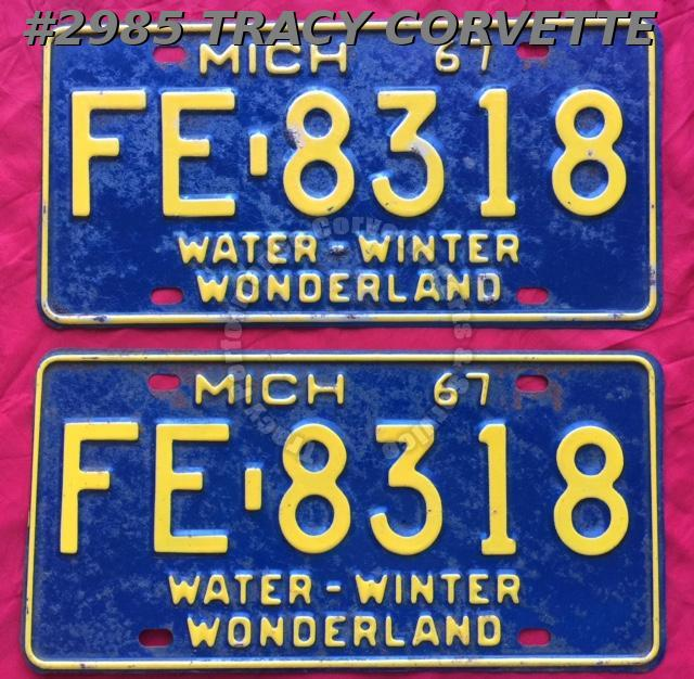 "1967 67 Michigan Used Original Vintage Metal License Plates Pr FE-8318 12"" x 6"""