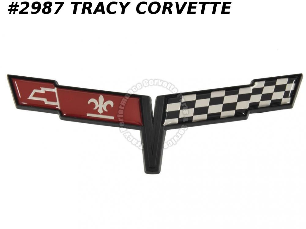 1981 Corvette New Reproduction 14030129X Front Nose Emblem 81 In Front of Hood