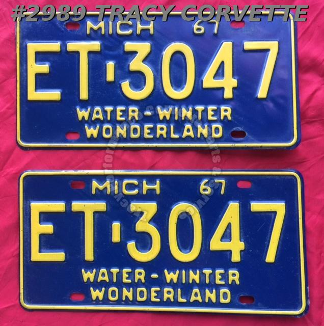 1967 Pair Used Original Michigan License Plates ET 3047 Water-Winter Wonderland