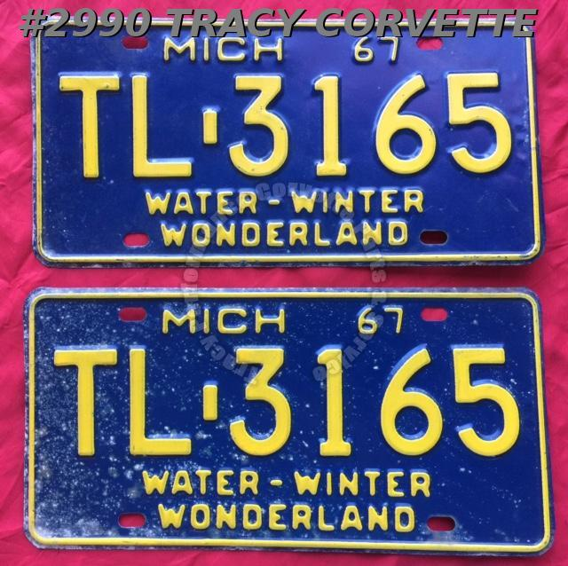 "1967 67 Michigan Used Original Vintage Metal License Plates Pr TL-3165 12"" x 6"""