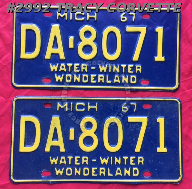 1967 Pair Used Original Michigan License Plates DA 8071 Water-Winter Wonderland