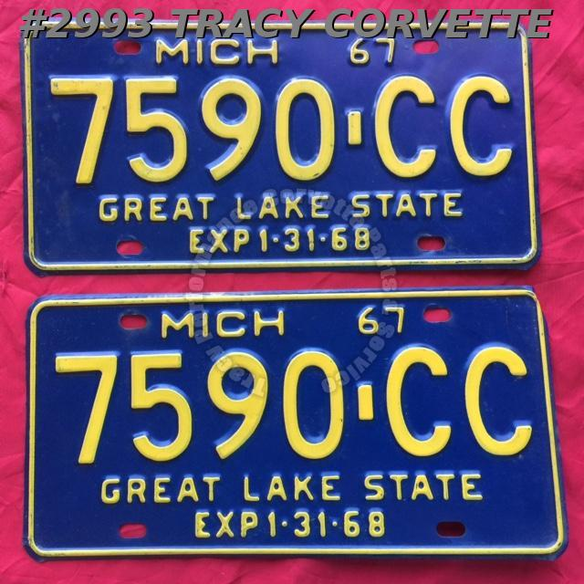 1967 Pair Used Original Michigan License Plates 7590 CC Great Lake State 1:31:68