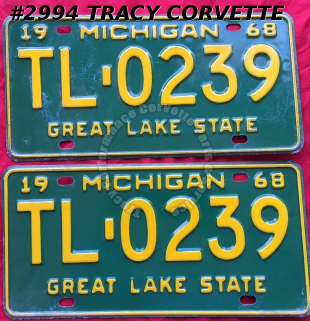 1968 Pair Used Original Michigan License Plates TL 0239 Great Lake State