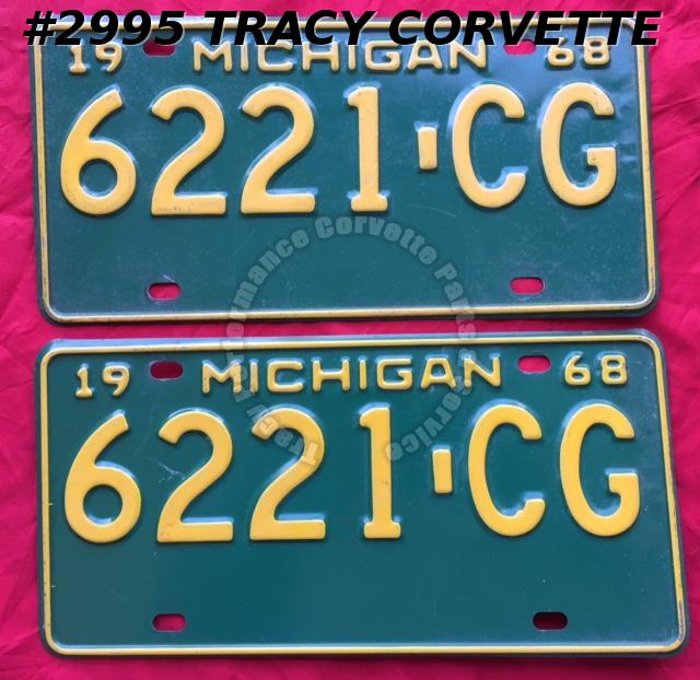 1968 Pair Used Original Michigan License Plates 6221 CG