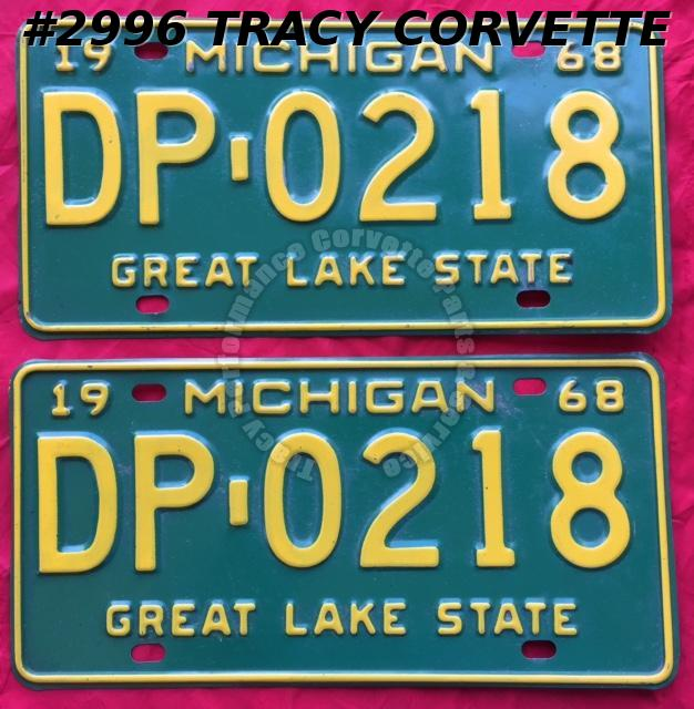 "1968 68 Michigan Used Original Vintage Metal License Plates Pr DP-0218 12"" x 6"""