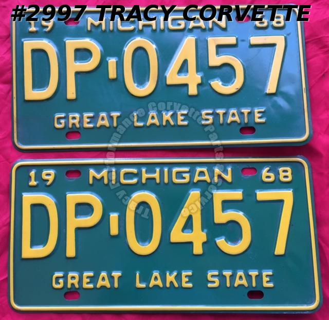 1968 Pair Used Original Michigan License Plates DP 0457 Great Lake State