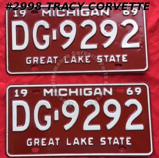 1969 Pair Used Original Michigan License Plates DG 9292 Great Lake State