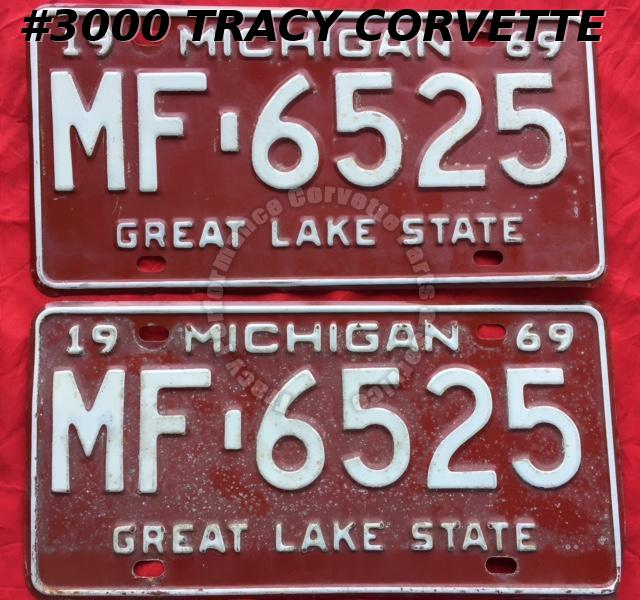 1969 Pair Used Original Michigan License Plates MF 6525 Great Lake State