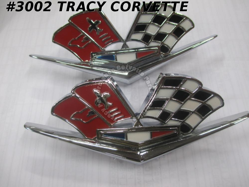 1963-1966 Corvette New 3872930 Side Fender Cross Flag Emblems/Pair RED