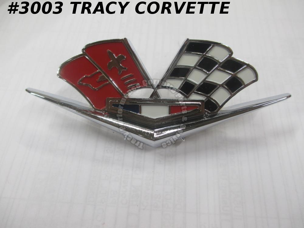 1963-1966 Corvette 3872930 Side Fender Cross Flag Emblem One red badge