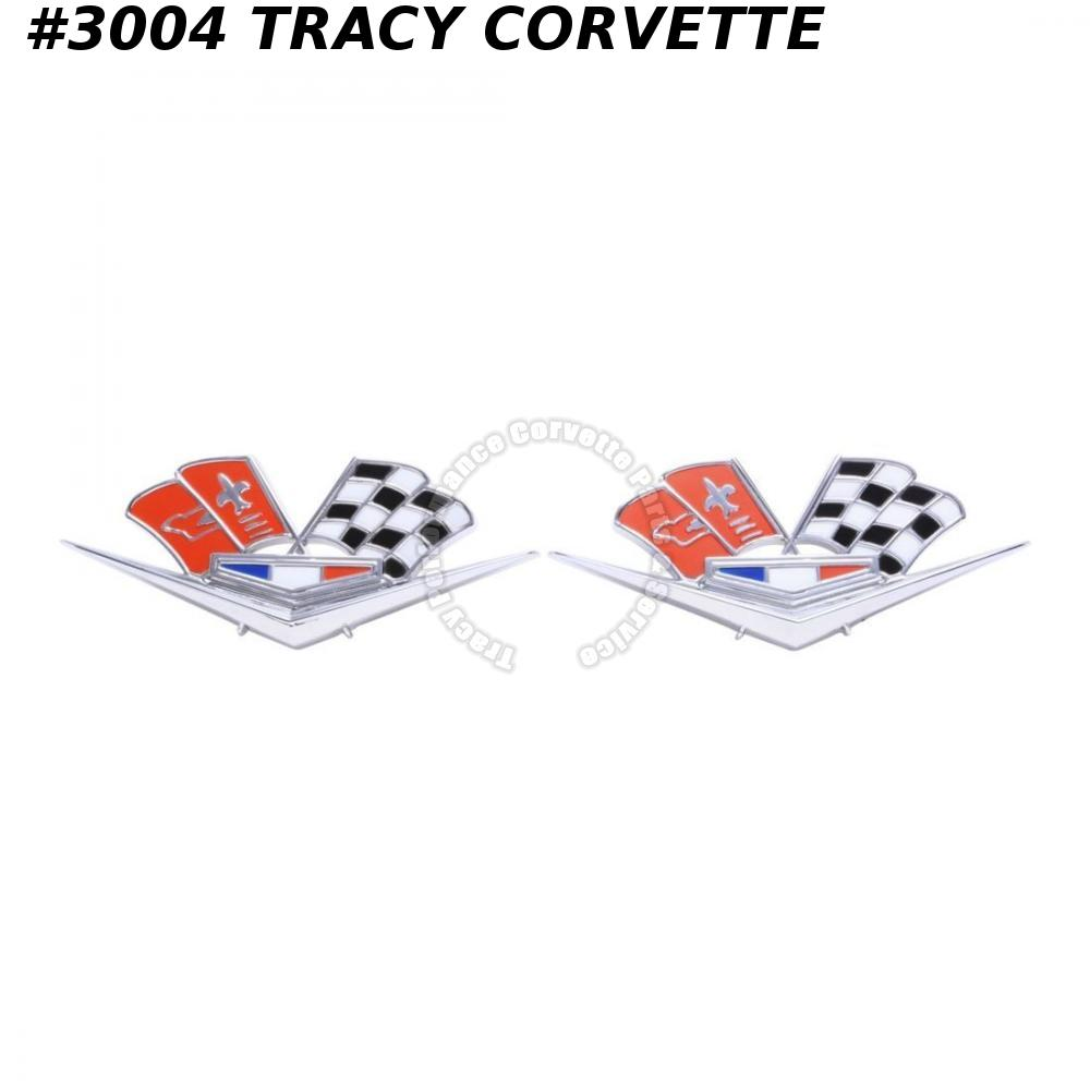 1963-1966 Corvette New 3872930 Side Fender Cross Flag Emblems/Pair RED/ORANGE