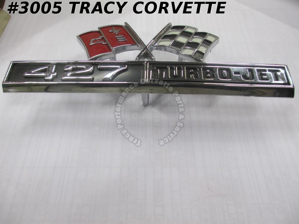 1966 1967 Corvette New 3876425 Side Fender 427 Emblem/(1) 66 67 Turbo-Jet Flags
