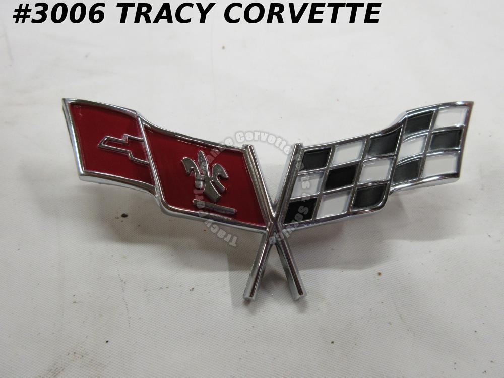 1977 1979 Corvette Reproduction of 379918 Front Nose Emblem Crossed Flags 77 79