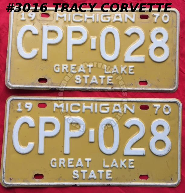 "1970 70 Michigan Used Original Vintage Metal License Plates Pr CPP-028 12"" x 6"""