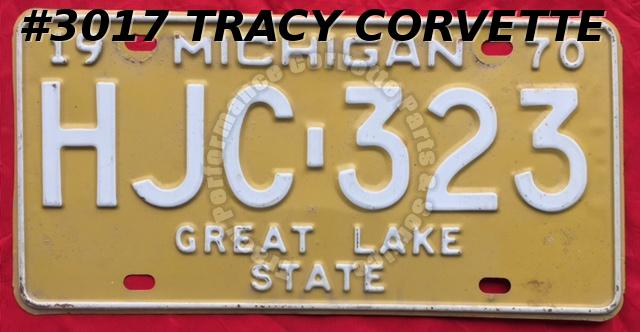 "1970 Used Original Michigan License Plate HJC 323 Great Lake State 12"" x 6"""