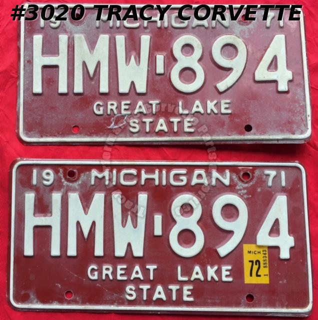 "1971 71 Michigan Used Original Vintage Metal License Plates Pr HMW-894 12"" x 6"""