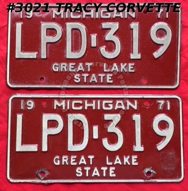 1971 Pair Used Original Michigan License Plates LPD 319 Great Lake State