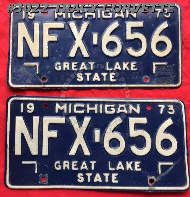 "1973 73 Michigan Used Original Vintage Metal License Plates Pr NFX-656 12"" x 6"""