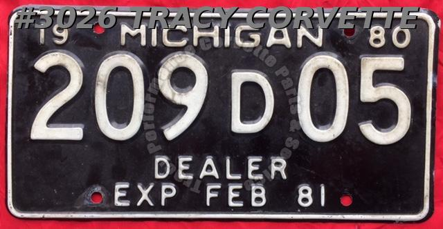 1980 Used Original Michigan Dealer License Plate 209 D 05 Exp Feb 81