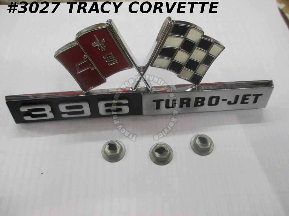 1965 Corvette New Repro 3872997 DARK RED Side Fender 396 Turbo Jet Flag Emblem/1