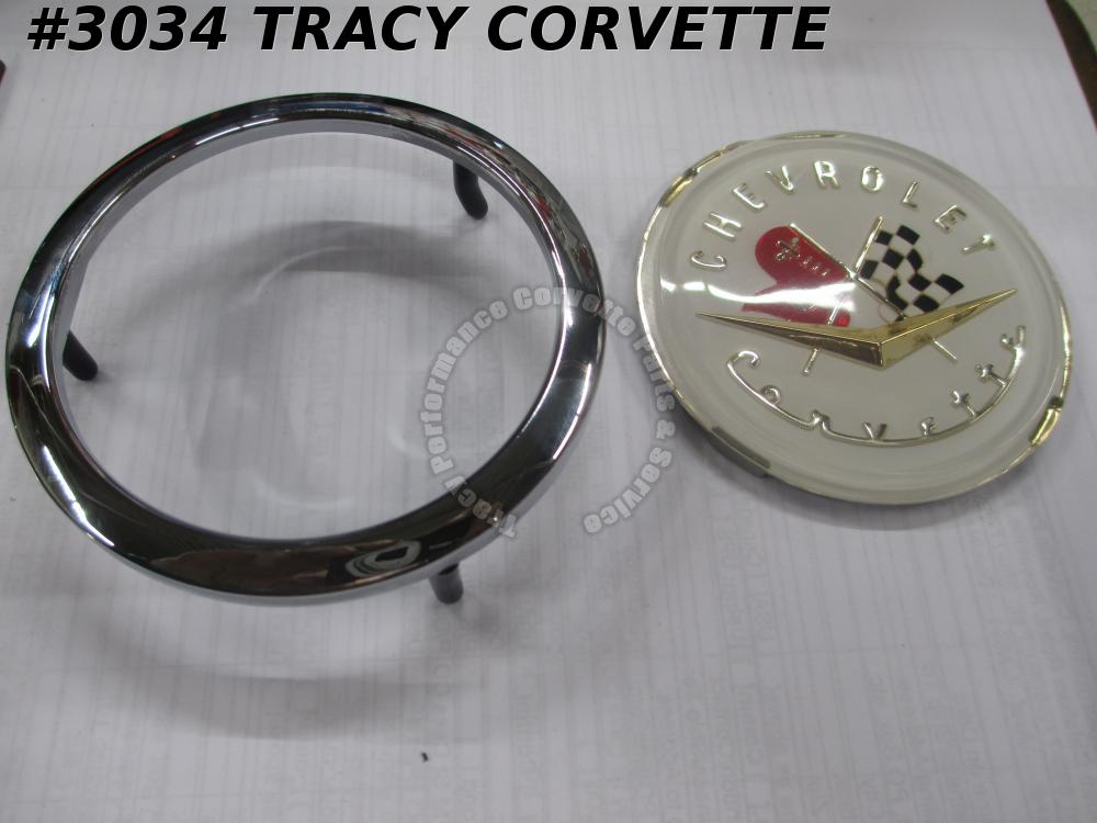 1956-1957 Corvette New USA Repro 3725754 3725755 Front/Rear Emblem Emblem/Bezel