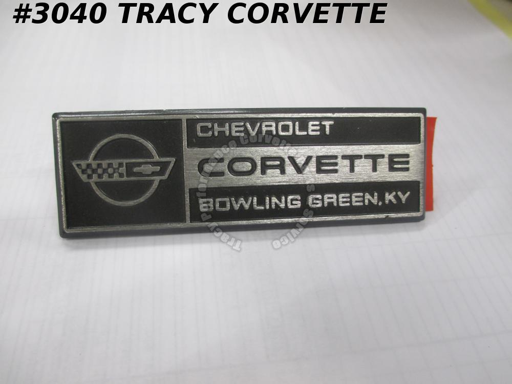 1984-1993 Corvette NOS 14094284, 10175789 BOWLING GREEN Metal Under Hood Emblem