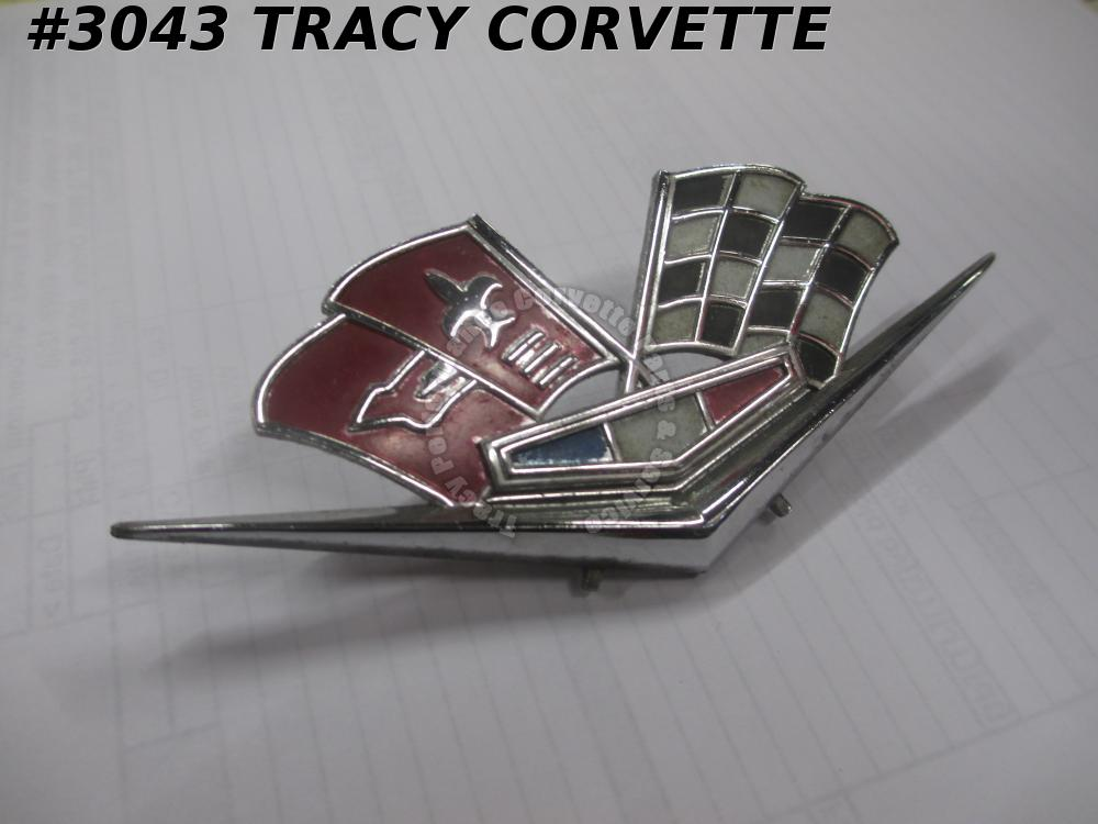 1962-63 Corvette New 3792000 Side Fender Cross Flag Emblem/1 - SECONDS