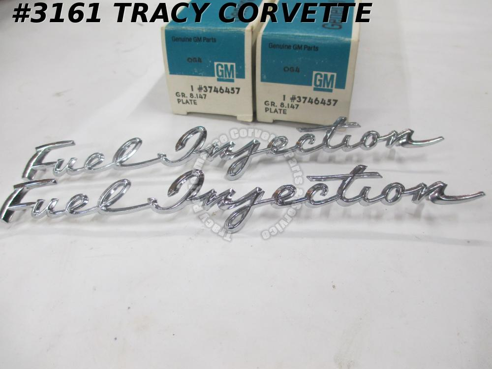 1958-61 Corvette Chevy NOS GM 3746457 Fuel Injection Emblems/Pr Real Side Fender