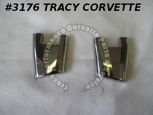 1956-E1958 Corvette New Repro 3716369 3716370 Door End Caps Moldings wo Holes/Pr