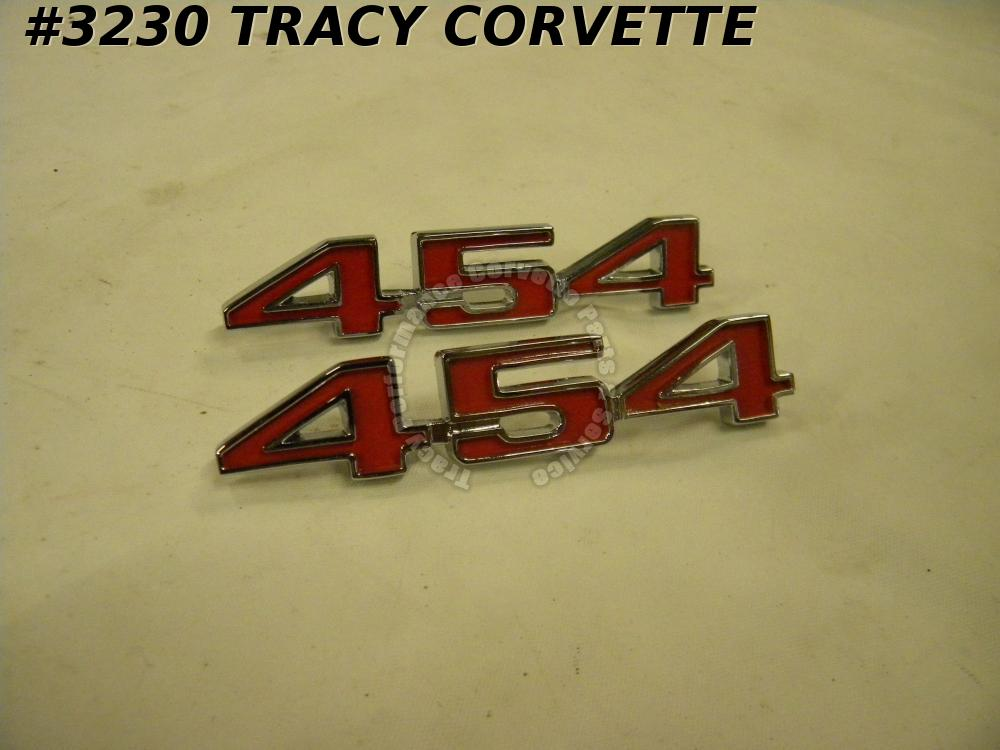 1973-1974 Corvette New Reproduction of 336119 454 CID Hood Emblems/Pair