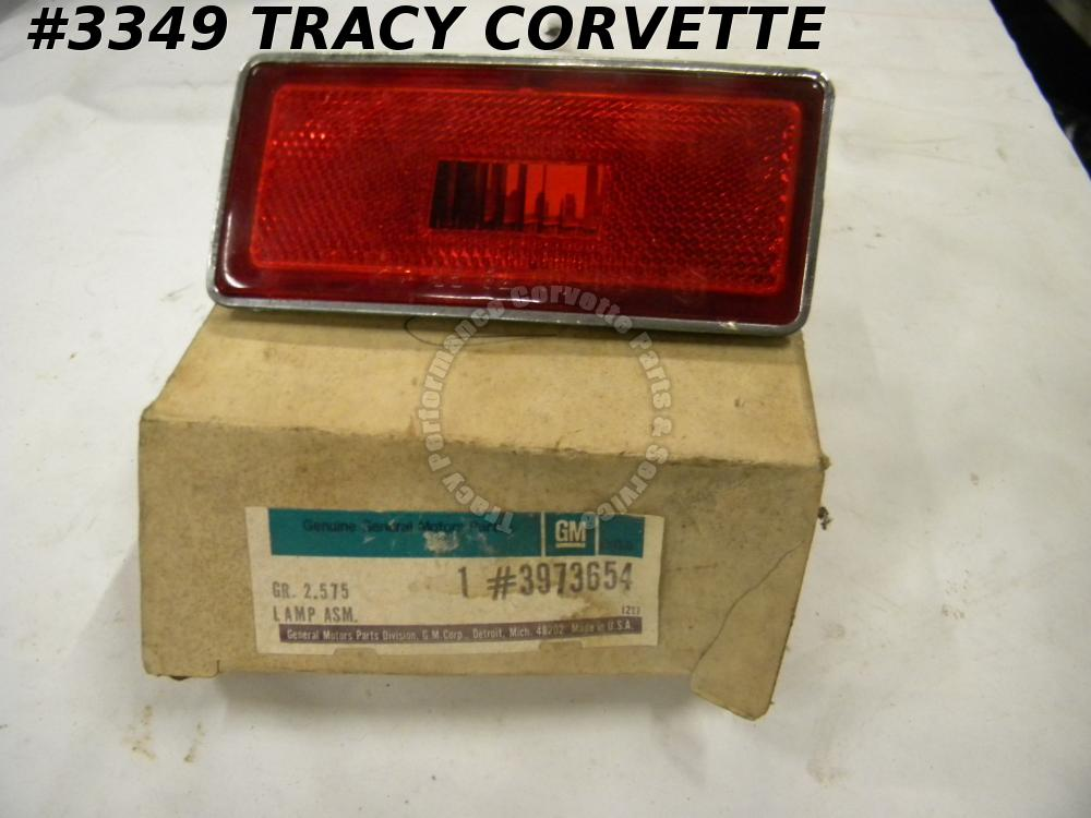 1970-74 Corvette NOS 3973654 RH RR Side Marker Lamp Assembly Red Driver Quality