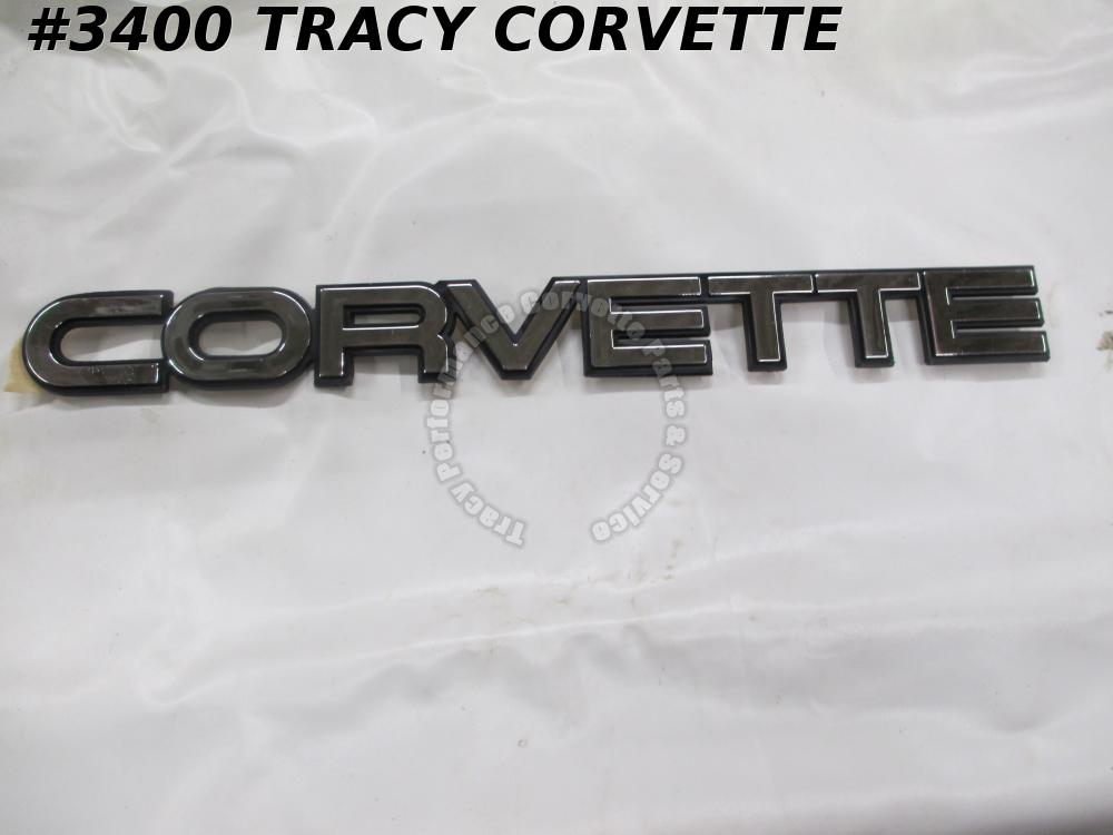 1984-90 Corvette Reproduction Plastic Rear Bumper Emblem - Brush Chrome