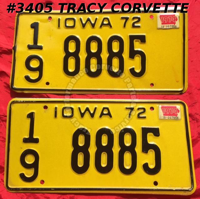 "1972 72 Iowa Used Original Vintage Metal License Plates Pair 8885 12"" x 6"""