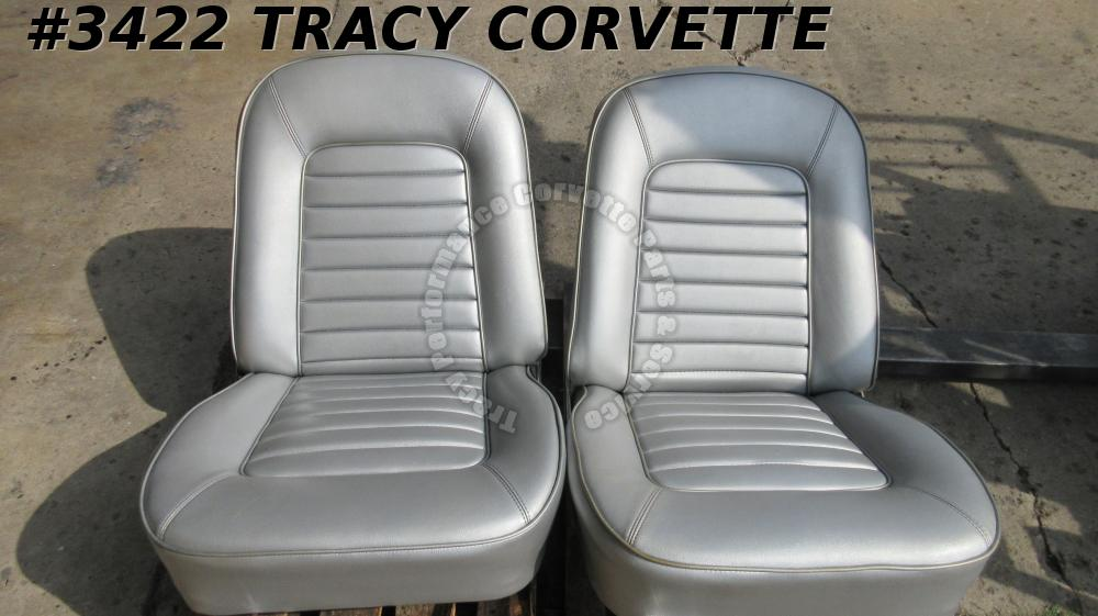 1966 Corvette Used Original Silver Vinyl Survivor Seat Assemblies w/Tracks/Pair