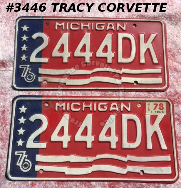 "1976 76 Michigan Used Original Vintage Metal License Plates Pr 2444DK 12"" x 6"""