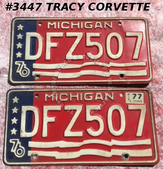 "1976 76 Michigan Used Original Vintage Metal License Plates Pr DFZ507 12"" x 6"""