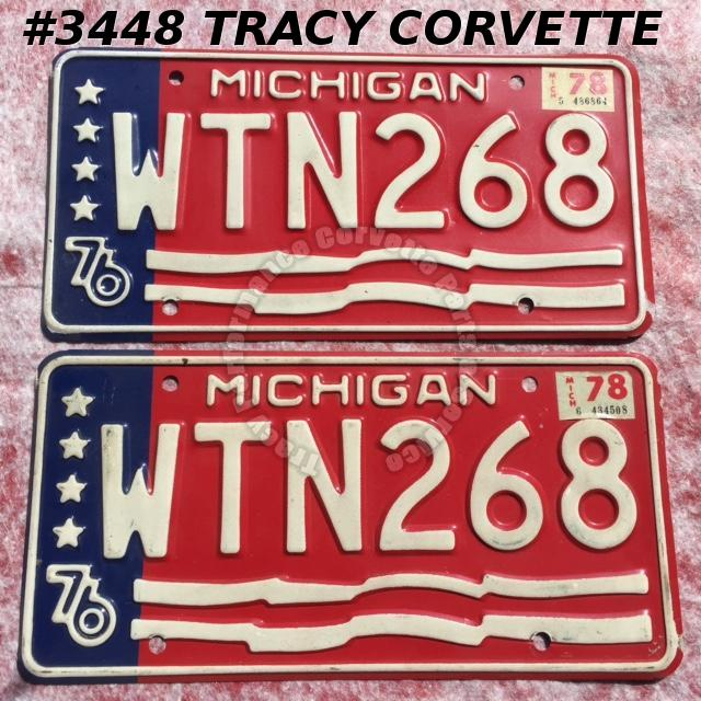 "1976 76 Michigan Used Original Vintage Metal License Plates Pr WTN268 12"" x 6"""