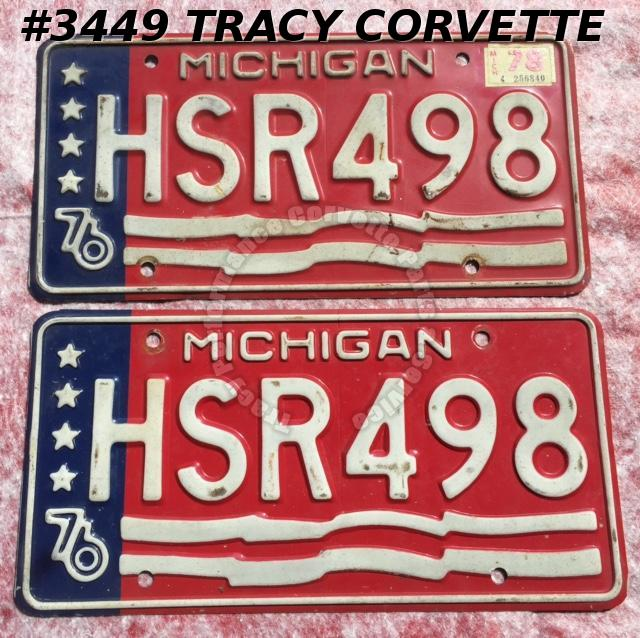 "1976 76 Michigan Used Original Vintage Metal License Plates Pr HSR498 12"" x 6"""