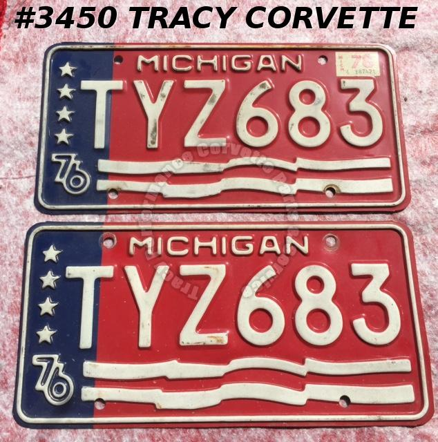 "1976 76 Michigan Used Original Vintage Metal License Plates Pr TYZ683 12"" x 6"""