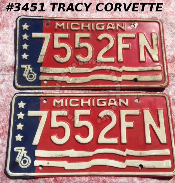 "1976 76 Michigan Used Original Vintage Metal License Plates Pr 7552FN 12"" x 6"""