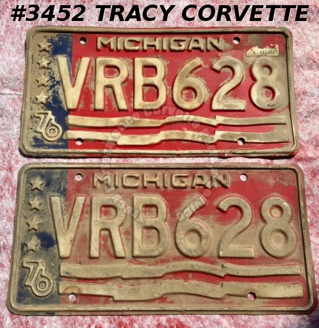"1976 76 Michigan Used Original Vintage Metal License Plates Pr VRB628 12"" x 6"""