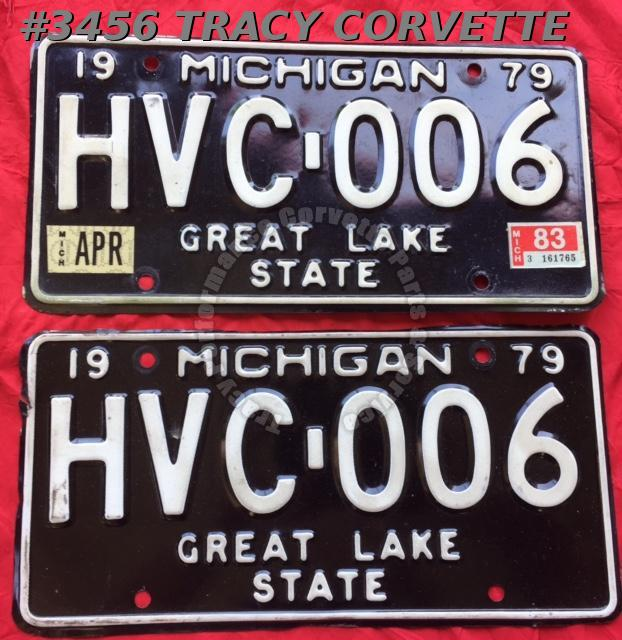 "1979 79 Michigan Used Original Vintage Metal License Plates Pr HVC-006 12"" x 6"""