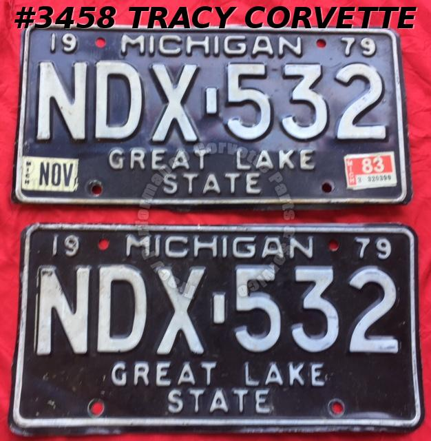 "1979 79 Michigan Used Original Vintage Metal License Plates Pr NDX-532 12"" x 6"""