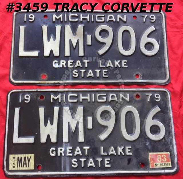 "1979 79 Michigan Used Original Vintage Metal License Plates Pr LWM-906 12"" x 6"""