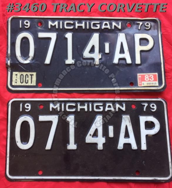 "1979 79 Michigan Used Original Vintage Metal License Plates Pr 0714-AP 12"" x 6"""