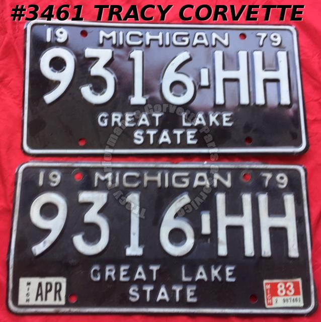 "1979 79 Michigan Used Original Vintage Metal License Plates Pr 9316-HH 12"" x 6"""