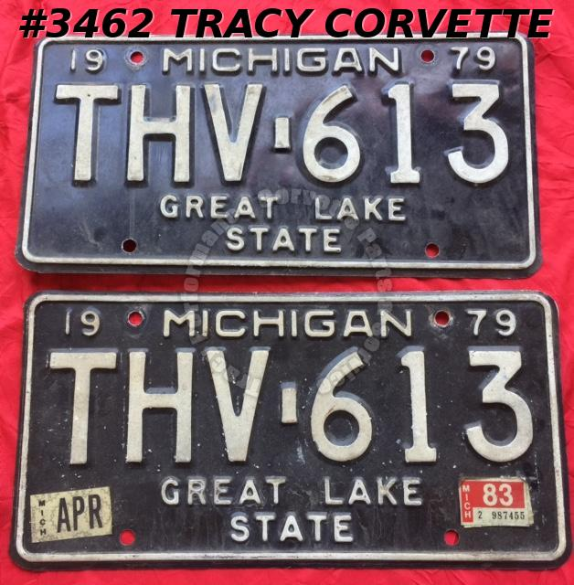 "1979 79 Michigan Used Original Vintage Metal License Plates Pr THV-613 12"" x 6"""