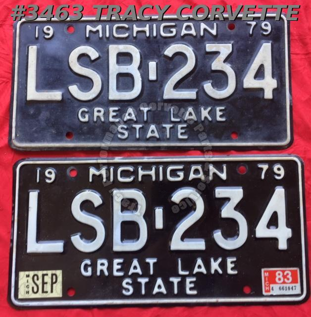"1979 79 Michigan Used Original Vintage Metal License Plates Pr LSB-234 12"" x 6"""