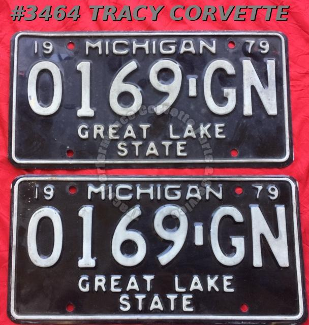 "1979 79 Michigan Used Original Vintage Metal License Plates Pr 0169-GN 12"" x 6"""